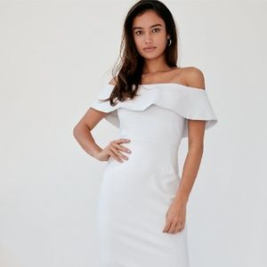Aritzia NWT White Off-Shoulder Ruffle Dress